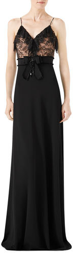 Gucci Gucci Viscose Jersey & Lace Gown, Black