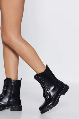 Nasty Gal Stand On the Rock Studded Hiker Boot