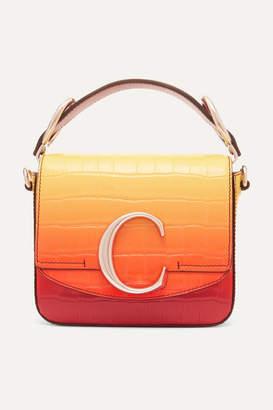 Chloé C Ombré Croc-effect Leather Shoulder Bag - Yellow