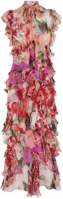 Dolce & Gabbana Tiered Peony Print Midi Dress