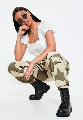 Missguided Beige Camo Printed Cargo Pants