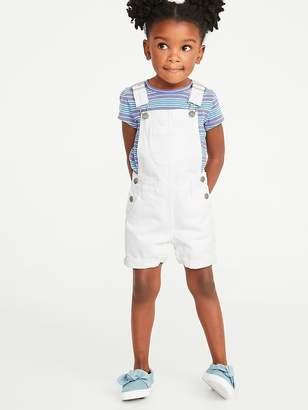 Old Navy White Denim Shortalls for Toddler Girls