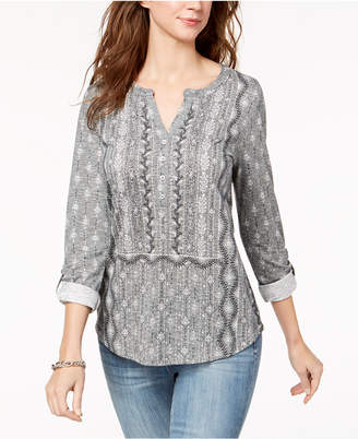 Style&Co. Style & Co Petite Printed Roll-Tab Top, Created for Macy's