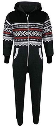 a2z4kids Kids Girls Boys Aztec Snowflake Print Hooded Onesie All In One Jumpsuit Age 5-13
