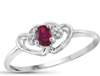 FINE JEWELRY Lab-Created Red Ruby and Diamond Accent in Sterling Silver Ring