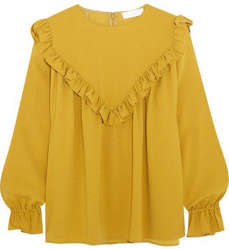 Co - Ruffled Crepe Blouse - Yellow $725 thestylecure.com