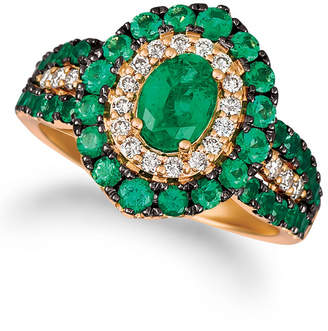 LeVian Le Vian Costa Smeralda Emeralds (1 5/8 ct. t.w.) and Nude Diamonds (1/4 ct. t.w.) Ring in 14k Rose Gold