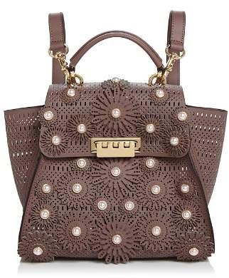 Zac Posen Eartha Floral Embellishment Convertible Leather Backpack