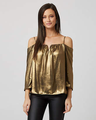 Le Château Foil Metallic Cold Shoulder Blouse