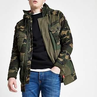 River Island Superdry green camo parka jacket