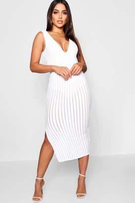 boohoo Sequin Stripe Midi Dress with Bodysuit