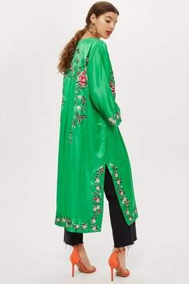 Topshop Petite Longline Embroidered Kimono