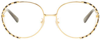 Gucci Gold and Black Oversized Vintage Glasses