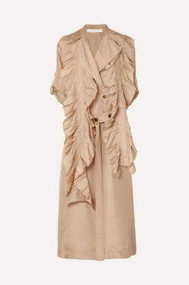 Victoria Beckham Ruffled Silk Trench Coat - Beige