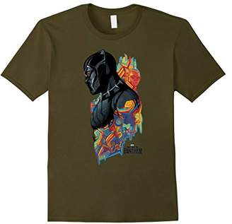 Marvel Black Panther Movie Colorful Pattern Profile T-Shirt