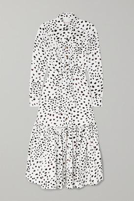 Carolina Herrera Tie-front Animal-print Crepe Maxi Dress - White