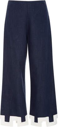 Staud Ponza Cropped Cutout Chambray Flared Pants