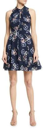 Rebecca Taylor Sleeveless Floral-Print Knotted Keyhole Dress
