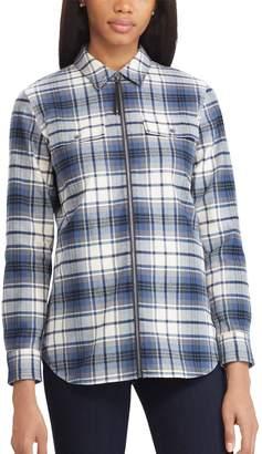 Chaps Petite Plaid Zip-Front Shirt