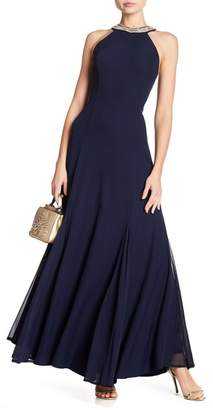 Marina Embellished Neckline Dress