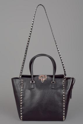 Valentino Rockstud Double Handle Bag Black