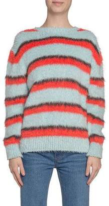 Marc Jacobs Striped Fuzzy-Silk Crewneck Sweater