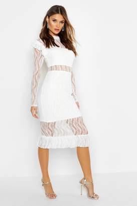 boohoo Long Sleeve All Over Lace Midi Dress