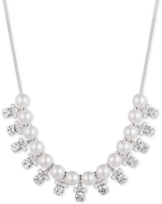 "Givenchy Silver-Tone Imitation Pearl & Crystal Statement Necklace, 16"" + 3"" extender"