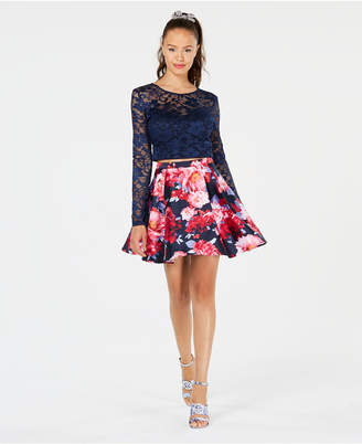 B. Darlin Juniors' Lace Floral-Print 2-Pc. Dress