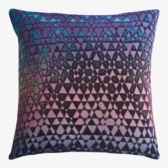 Kevin OBrien Kevin O'Brien Triangles Velvet Pillow Peacock