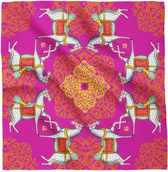 House of Gharats - Kalighat Horse Classic Silk Scarf Collection Pink Large