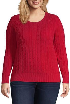 ST. JOHN'S BAY Cable Crew Neck Sweater - Plus