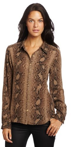 Vince Camuto Women's Roll Tab Button Front Snakeskin Blouse