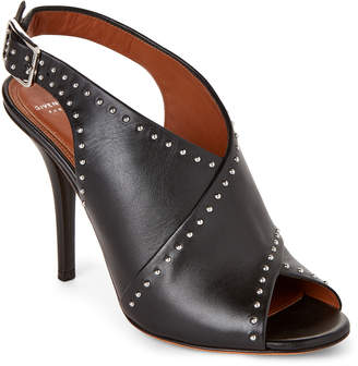 Givenchy Black Studded Crisscross Slingback Sandals
