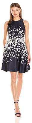 Donna Morgan Women's Fit and Flare Poly Twill Dress W/ Short Sleeves $98 thestylecure.com