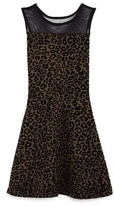 Aqua Girls' Animal-Print Contrast Mesh Dress, Big Kid - 100% Exclusive