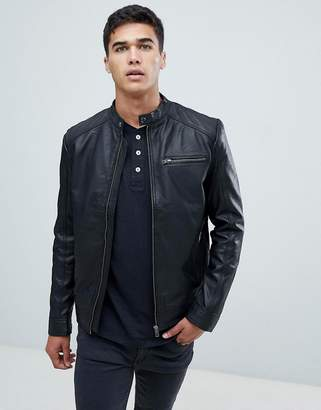 Selected leather biker jacket