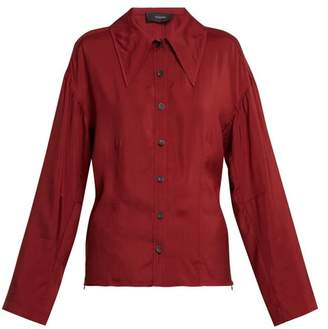 Joseph Point Collar Blouse - Womens - Burgundy