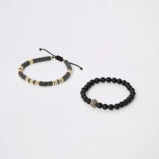 River Island Black beaded drawstring bracelet 2 pack