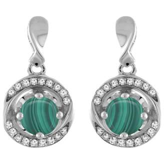 Sabrina Silver 14K White Gold Natural Malachite Earrings with Diamond Accents Round 4 mm