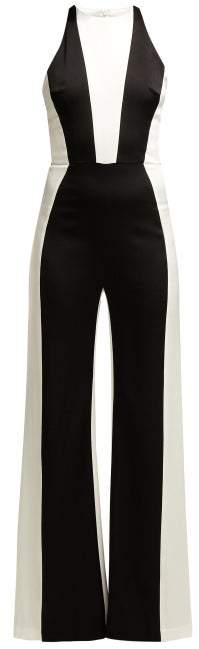 Galvan - Marlene Panelled Crepe Jumpsuit - Womens - Black White
