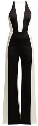 Galvan - Marlene Panelled Crepe Jumpsuit - Womens - Black White