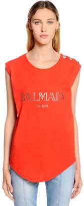 Balmain Logo Cotton Jersey Sleeveless T-Shirt