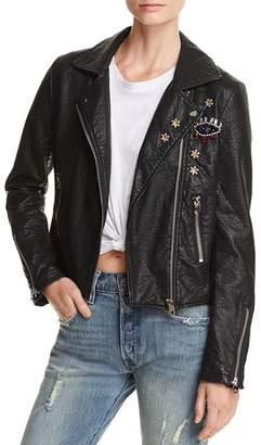 Aqua Embellished Faux Leather Moto Jacket - 100% Exclusive