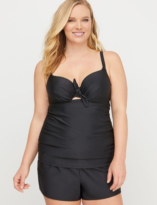 Lane Bryant Knot-Front Swim Tankini Top with Balconette Bra