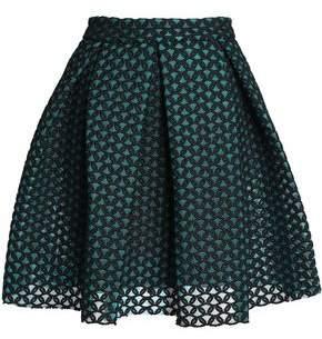 Maje Pleated Embroidered Mesh Mini Skirt