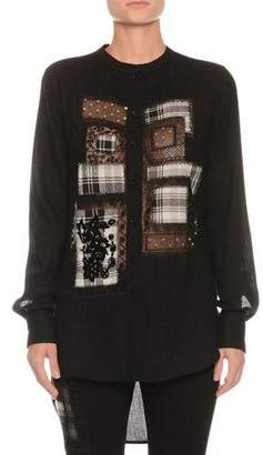 Ermanno Scervino Button-Front Long-Sleeve Plaid-Patchwork Blouse with High-Low Hem