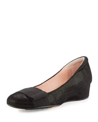 Taryn Rose Mary Shimmery Demi-Wedge Pump, Black $130 thestylecure.com