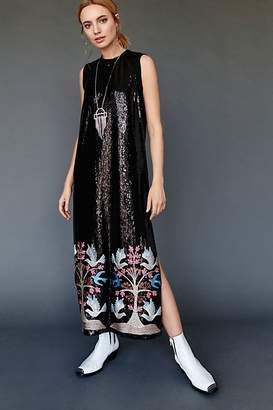Anna Sui Blue Bird Sequin Embroidered Maxi Dress