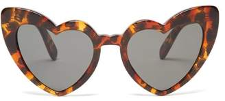 Saint Laurent Loulou Heart Shaped Sunglasses - Womens - Tortoiseshell